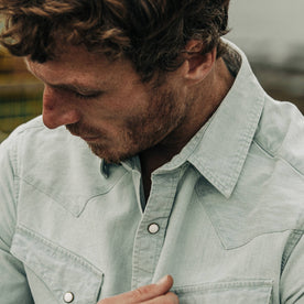 fit model wearing The Western Shirt in Washed Selvage Chambray, cropped chest up