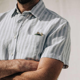our fit model wearing The Short Sleeve California in Grey Stripe
