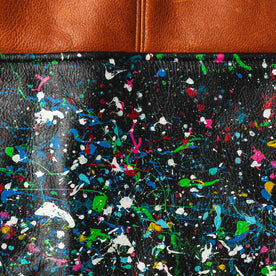 material shot of the cosmos paint detailing on The Moto Jacket in Whiskey & Cosmos