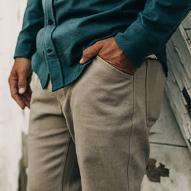 our fit model wearing The Camp Pant in Ash Boss Duck—cropped shot, hands in pockets