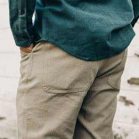 our fit model wearing The Camp Pant in Ash Boss Duck—cropped shot of pant back
