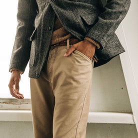 our fit model wearing The Camp Pant in Khaki Reverse Sateen—cropped shot of pant