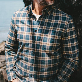 our fit model wearing The Jack in Brushed Navy Plaid—cropped shot of chest