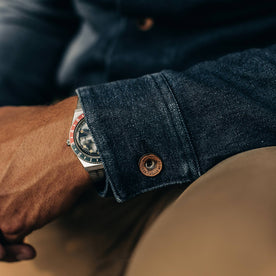 The Long Haul Jacket in Indigo Boss Duck—cropped shot of wrist