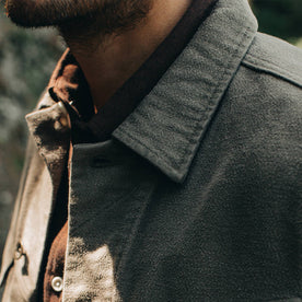 our fit model wearing The Long Haul Jacket in Moss Brushed Reverse Sateen—cropped shot of collar