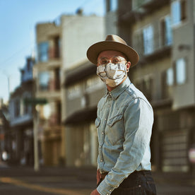 our fit model wearing The Pleated Mask in SF Map Print—out on the street