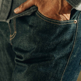 our fit model wearing The Slim Everyday Jean—cropped shot of pocket detail