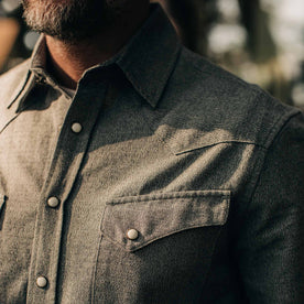our fit model wearing The Western Shirt in Olive Melange—close up of chest