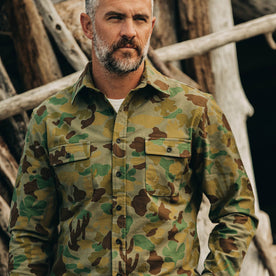 our fit model wearing The Yosemite Shirt in Arid Camo—cropped shot looking forward