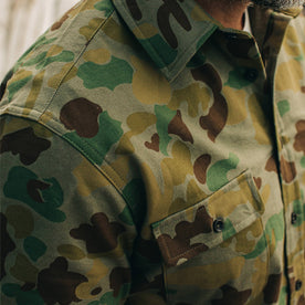 our fit model wearing The Yosemite Shirt in Arid Camo—cropped shot of chest
