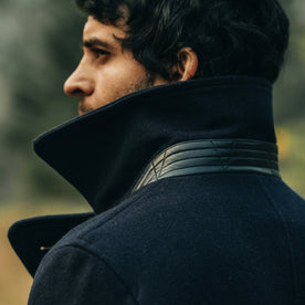 fit model wearing The Mendocino Peacoat in Navy Wool, popped collar