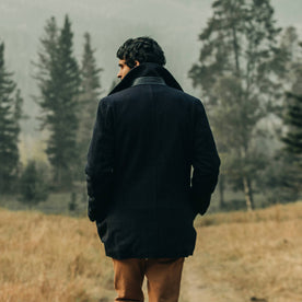 fit model wearing The Mendocino Peacoat in Navy Wool, back shot