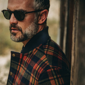 fit model wearing The Bomber Jacket in Navy Plaid Wool, side shot