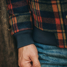 fit model wearing The Bomber Jacket in Navy Plaid Wool, sleeve