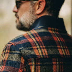 fit model wearing The Bomber Jacket in Navy Plaid Wool, back