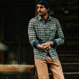 fit model wearing The Crater Shirt in Blue Plaid, looking ;eft