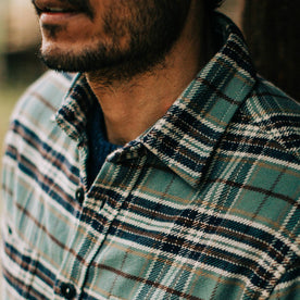 fit model wearing The Crater Shirt in Blue Plaid, collar shot