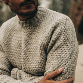 fit model wearing The Fisherman Sweater in Heather Ash, chest shot