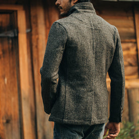 fit model wearing The Gibson Jacket in Charcoal Birdseye Wool, back shot