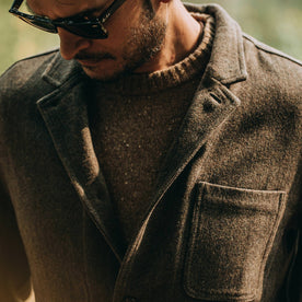 fit model wearing The Gibson Jacket in Olive Herringbone Wool, chest
