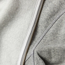 material shot of The Heavy Bag Bomber in Heather Grey Fleece with inside fleece visible and compared next to exterior