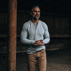 The Heavy Bag Waffle Henley in Ash - featured image