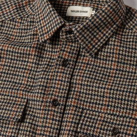 material shot of The Leeward Shirt in Houndstooth showing placket and collar