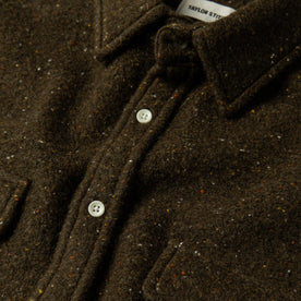 material shot of The Leeward Shirt in Olive Donegal showing collar and placket closeup