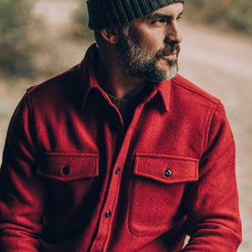 our fit model wearing The Maritime Shirt Jacket in Clifford Red—cropped shot, looking right