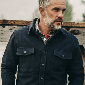 The Maritime Shirt Jacket in Deep Navy—looking right