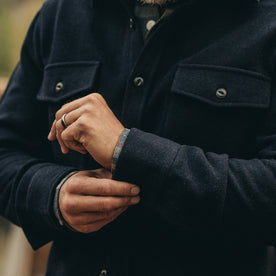 The Maritime Shirt Jacket in Deep Navy—wrist shot