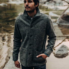 our fit model wearing The Ojai Jacket in Charcoal Wool—cropped shot forehead down