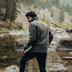 our fit model wearing The Ojai Jacket in Charcoal Wool—looking left