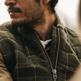 fit model wearing The Vertical Vest in Olive Plaid Wool, chest shot