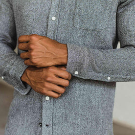Our fir model wearing The Jack in Heather Ash Waffle from Taylor Stitch.