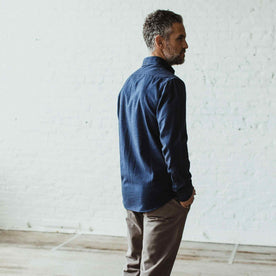 Our fit model wearing The Jack in Brushed Navy Oxford from Taylor Stitch.