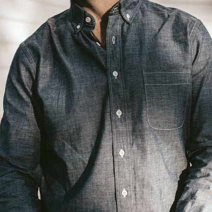 Our fit model wearing The Jack Shirt in Selvage Chambray.
