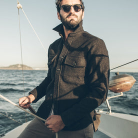 The Maritime Shirt Jacket in Charcoal Donegal Wool: Alternate Image 3