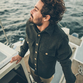 The Maritime Shirt Jacket in Moss Donegal Wool: Alternate Image 5