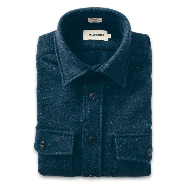 The Maritime Shirt Jacket in Navy Donegal Lambswool