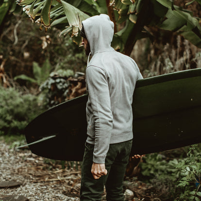 Our fit model wearing The Après Hoodie in Grey Stripe.