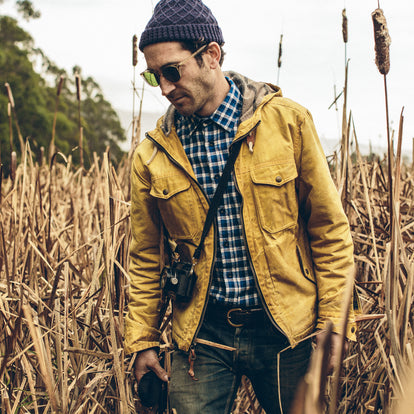 Our fit model wearing The California in Brushed Navy Plaid.