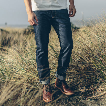 Our fit model wearing The Slim Jean in Organic '68 Selvage.