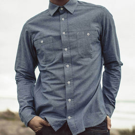 Our fit model wearing the The California in Blue Everyday Chambray