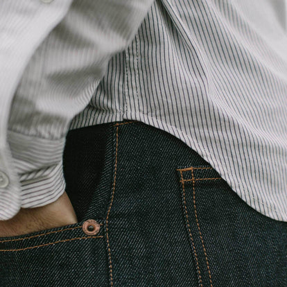 Our fit model wearing The Jack in Indigo Stripe from Taylor Stitch.