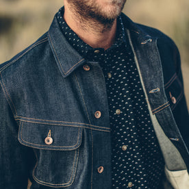 Our fit model wearing The Long Haul Jacket in Organic '68 Selvage.