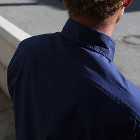The back of our fit model wearing a navy Jack