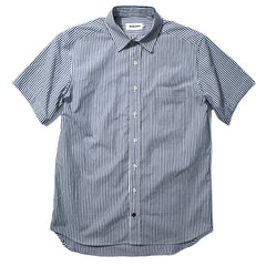 The Short Sleeve California in Navy Stripe Poplin
