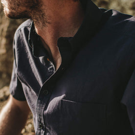 Close up shot of out fit model wearing the Short Sleeve Jack