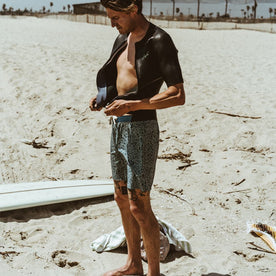 Our fit model getting ready to surf in The Bo Boardie in Sea Floral
